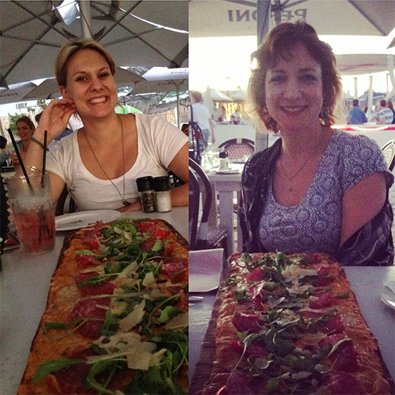 Amy and Keren and the long pizza