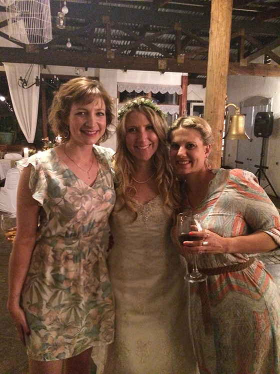 Keren, Tamlyn and Amy at Tamlyn's wedding
