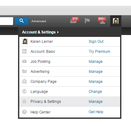 How to delete your LinkedIn account - step 1