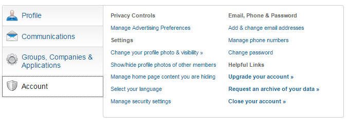 How to delete your LinkedIn account - step 2