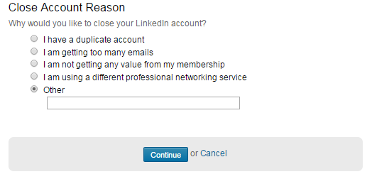 How to delete your LinkedIn account - step 3
