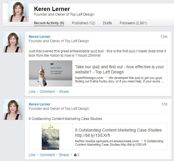 LinkedIn - recent activity