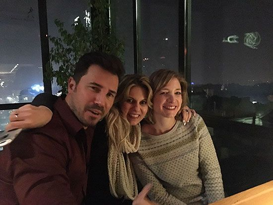 George, Amy and Keren at rooftop bar in Sofia