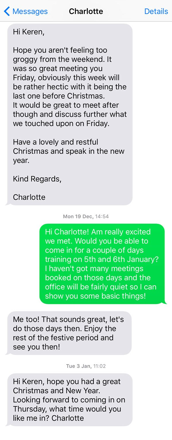 Charlotte's text message