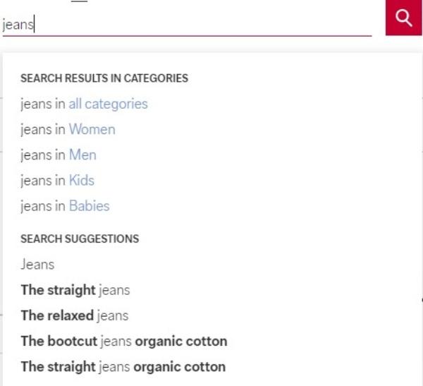 C&A - screenshot showing search