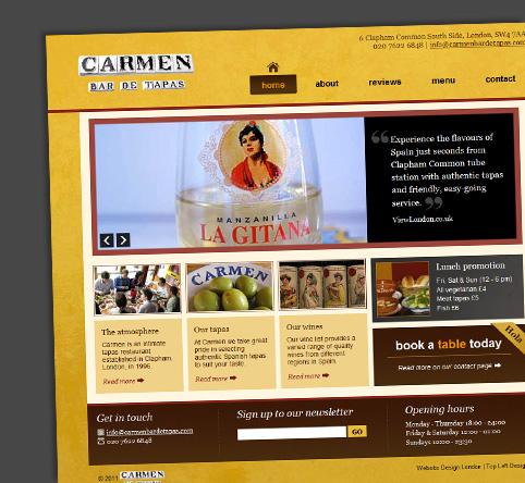 Launching the Carmen Bar de Tapas website and their lovely testimonial