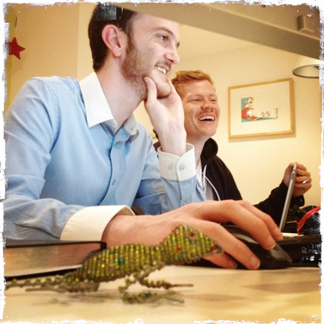 Aric and JP working on the Aspire Leadership website together - the chameleon is a clue - get it - responsive?