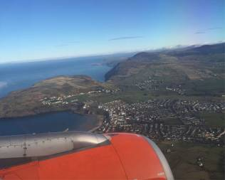 Keren's talk in the Isle of Man - view from plane