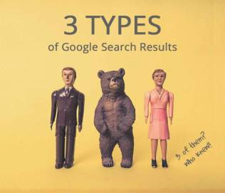 3 different types of Google results