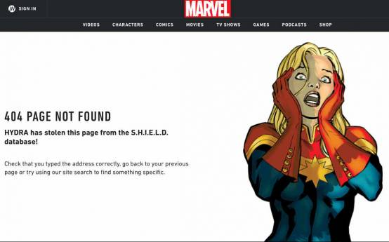 marvel 404 page