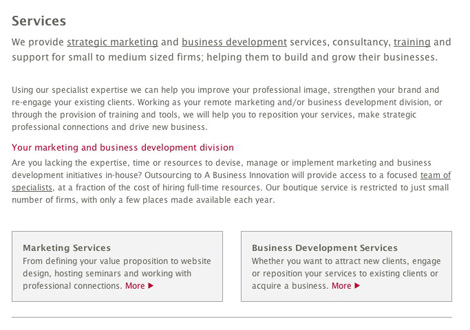 A Business Innovation services page