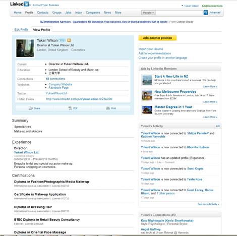 Yukari Wilson - LinkedIn profile - before