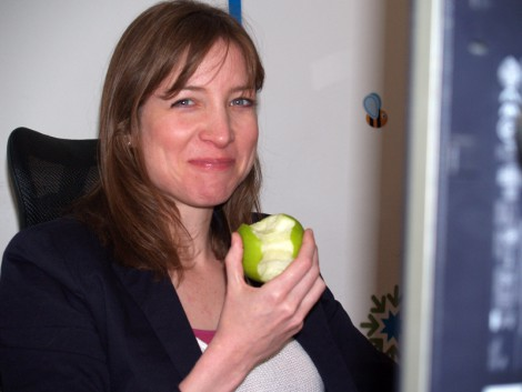 Happy Keren with her apple