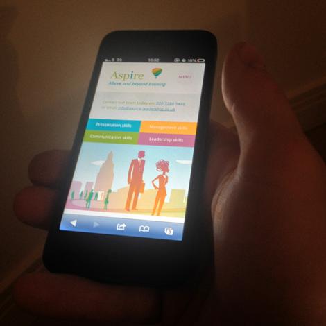 Aspire Leadership website - on an Iphone
