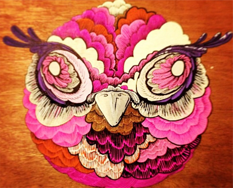 Chris Dal Din Owl - acrylic paint and ink on plywood