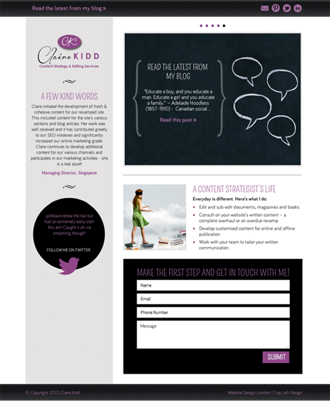 Claire Kidd Content Strategy and Editing Services