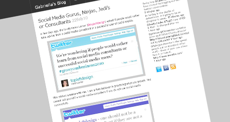 "Gabby's blog post – Social Media Gurus, Ninjas, Jedi's or Consultants – a ""reblog"""