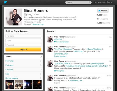 Gina Romero's Twitter