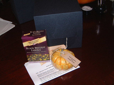 An innovative kit with a meal in a baby pumpkin delivered on Halloween to journalists to promote Merchant Gourmet Beluga Lentils.