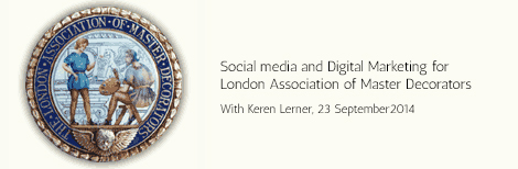 On 23 September 2014 Keren Lerner will be speaking at the Civil Service club for the Association of Master Decorators