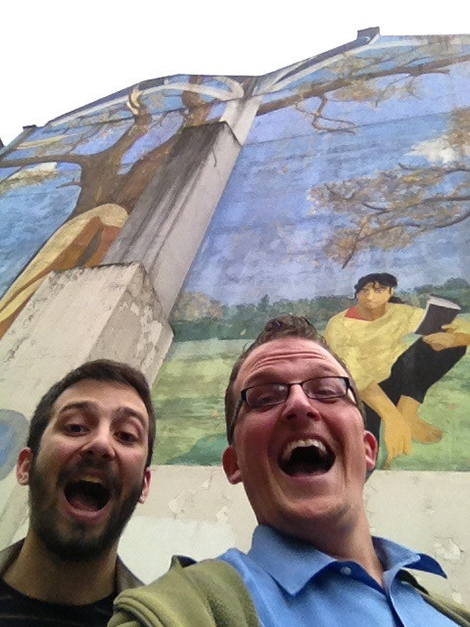 Kevin and Jack in front of the Noel Street mural