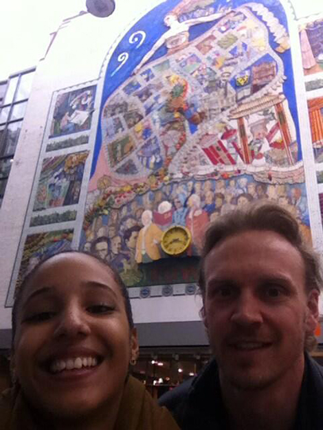 Nichaela and Anders in front of the Carnaby Street Mural