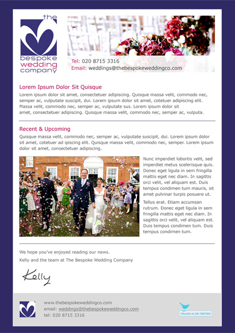 The Bespoke Wedding Company newsletter