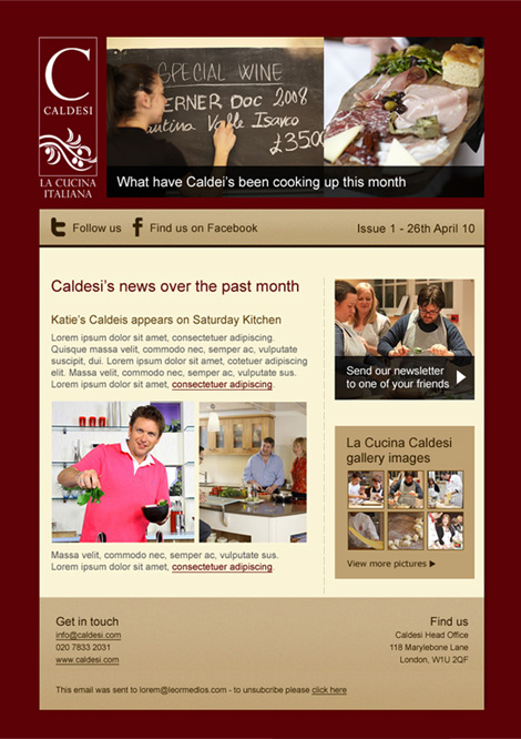 Caldesi newsletter