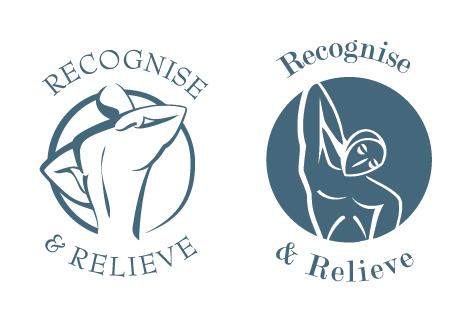 Recognise & Relieve logo designs 1 and 2