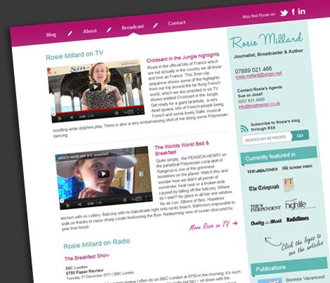 Rosie Millards Broadcast page