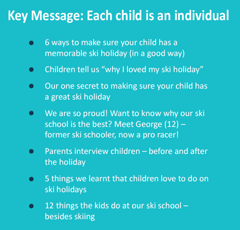 Snowbizz headlines - each child is an individual
