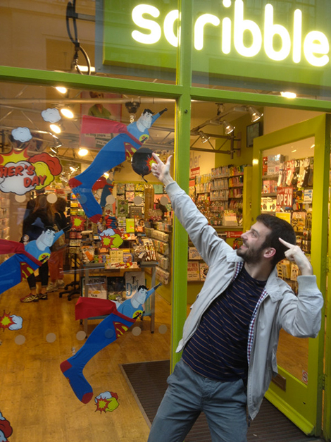 Super Kevin in front of Scribbler