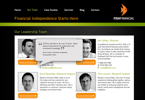 Fish Financial team page