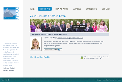 Petrus Financial team page