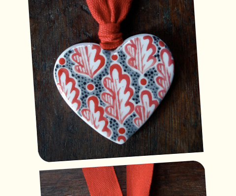 Jeff Josephine Designs - ceramic heart necklace
