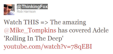 Mike Tompkins Tweet - Thinking Fox